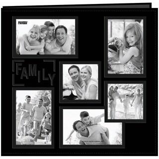 Sewn Embossed Collage Frame Post Bound Album 12inX12inFamily Black