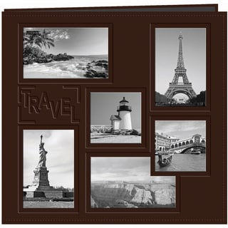 Sewn Embossed Collage Frame Post Bound Album 12inX12inTravel Brown