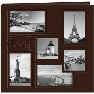 Sewn Embossed Collage Frame Post Bound Album 12inX12inTravel Brown