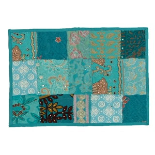 Timbuktu Hand Crafted Turquoise Cotton and Poly Recyled Sari Placemats (Set of 4)
