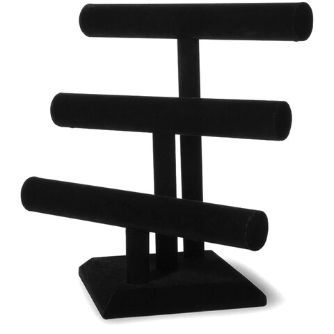 Triple Bar Jewelry Stand 12inX12inBlack Velvet