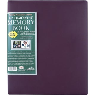 Family Treasures Deluxe Fabric Post Bound Album 12inX15inRich Bordeaux