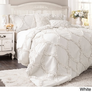 Lush Decor Avon 3-piece Queen Comforter Set in White (As Is Item)