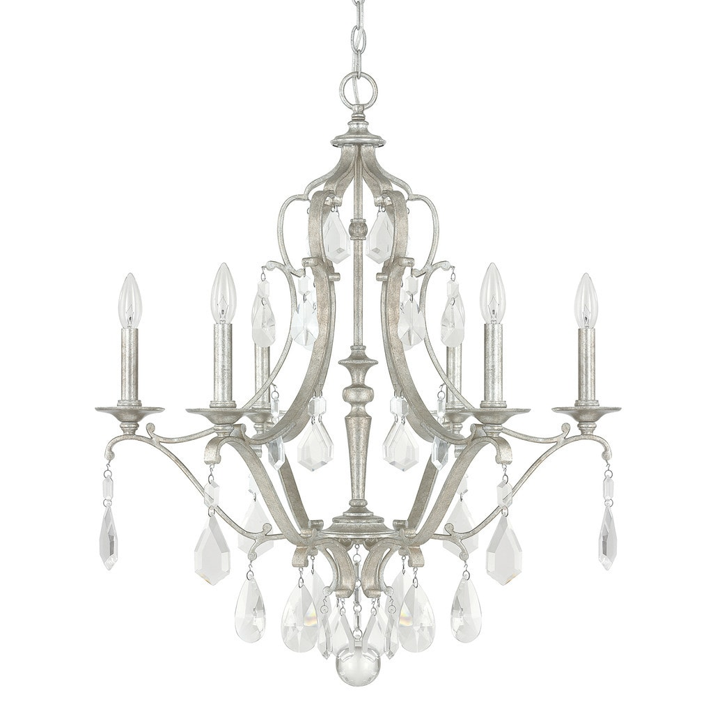 Blakely 6 Light Antique Silver Chandelier