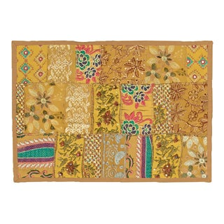 Timbuktu Hand Crafted Gold Cotton and Poly Recyled Sari Placemats (Set of 4 )