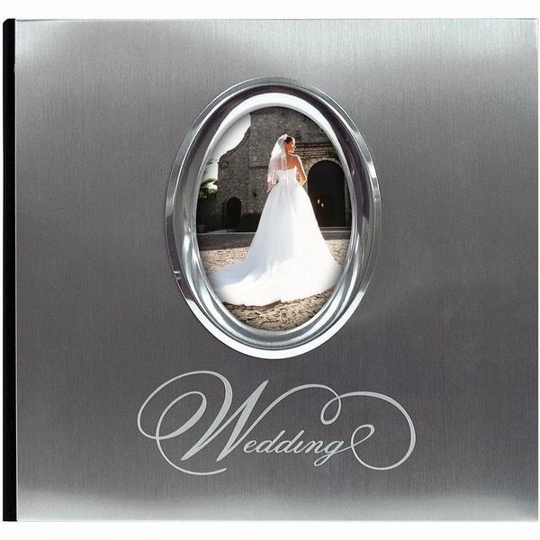 Silver Wedding Photo Album 9.75inX6.75in 200 Pockets
