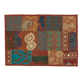 Timbuktu Hand Crafted Maroon Cotton and Poly Recyled Sari Placemats (Set of 4)