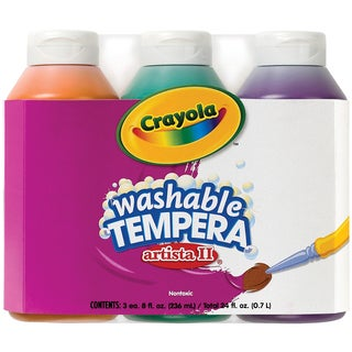 Crayola Artista II Washable Tempera Paint 8oz 3/PkgSecondary Colors Orange, Green & Violet