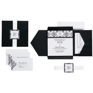Invitation Kit Makes 25 Black & White Scroll Monogram