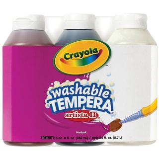Crayola Artista II Washable Tempera Paint 8oz 3/PkgNeutral Colors Black, Brown & White
