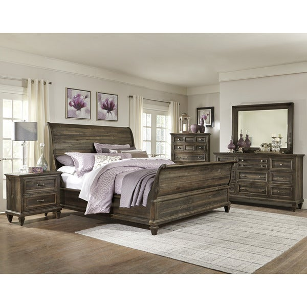 Shop magnussen b2590 calistoga grey finish wood sleigh bed free shipping today for Grey wood bedroom furniture set