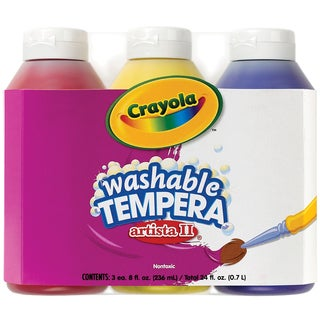 Crayola Artista II Washable Tempera Paint 8oz 3/PkgPrimary Colors Yellow, Blue & Red