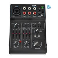 Pyle PAD30MXUBT Bluetooth 3-Channel Mixer DJ Controller Audio Interface, 18V Phantom Power Supply