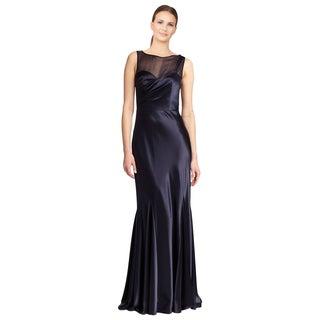 ABS by Allen Schwartz Women's Blue Sheer Yoke Ruched Satin Evening Dress - Size 8 (As Is Item)