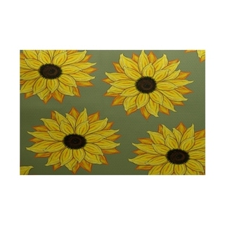 Sunflower Power Flower Print Rug (2' x 3')