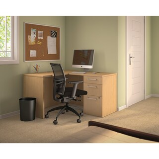 300 Series Shell Desk in L-Configuration, 3 Drawer Pedestal (2 options available)