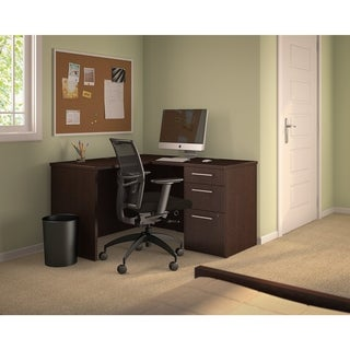 Bush Business Furniture 300 Series Shell Desk in L-Configuration with 3-Drawer Pedestal