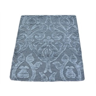 Wool and Rayon from Bamboo Silk Modern High and Low Pile Handmade Rug (2' x 2'6)
