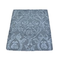 Wool and Rayon from Bamboo Silk Modern High and Low Pile Handmade Rug - 2' x 2'6