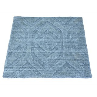 Square Wool and Viscose Rayon from Bamboo Modern Handmade Oriental Rug (2'1 x 2'1)