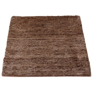 Square Mohair Wool Modern Chocolate Brown Hand Knotted Rug (2' x 2')