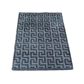 Rayon from Bamboo Silk Geometric Design Modern Handmade Oriental Rug (2' x 2'10)