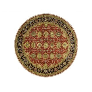 Round Rust Red Karajeh Hand Knotted Oriental Rug (9'10 x 9'10)