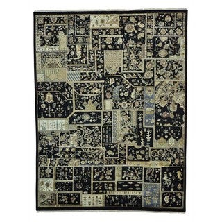 Rajasthan Patchwork Design Hand Knotted Oriental Rug (10' x 13'1)