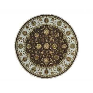 Round Wool and Silk Chocolate Brown Rajasthan Handmade Rug (8'1 x 8'1)