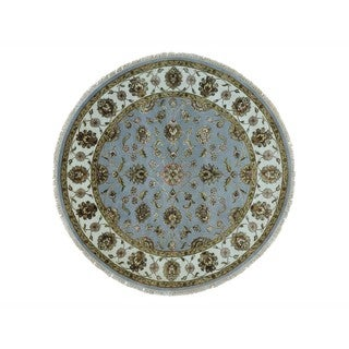 Wool and Silk Round Rajasthan Sky Blue Handmade Oriental Rug (6' x 6')