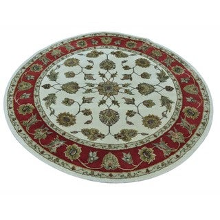 Oriental Rug Round Rajasthan Hand Knotted Wool And Silk (4' x 4')