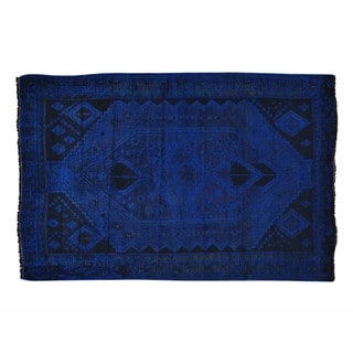 Worn Down Overdyed Persian Hamadan Handmade Oriental Rug (4'2 x 6'5)