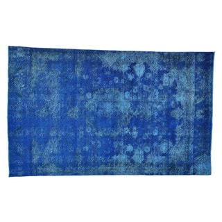 Handmade Worn Down Overdyed Persian Tabriz Oriental Rug (6'10 x 11'2)