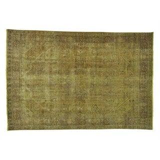 Handmade Worn Down Overdyed Persian Tabriz Oriental Rug (6'4 x 9'4)