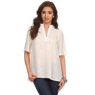 MOA Collection Women's Lightweight V-Neck Collared Blouse