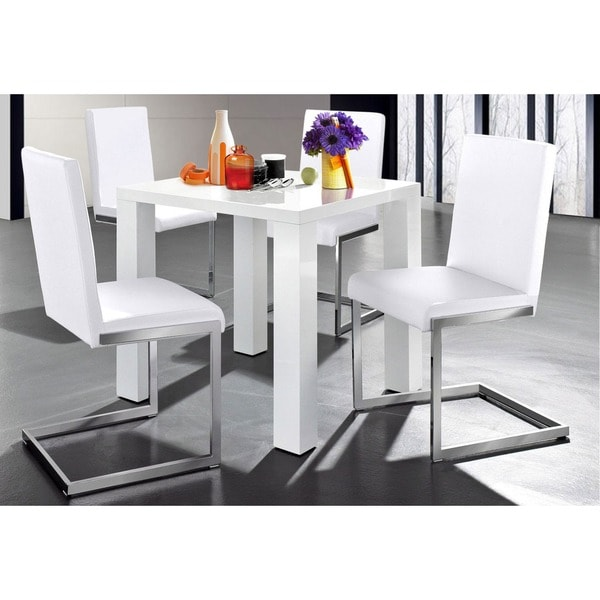 Attrayant Scandinavian Lifestyle Sky Dining White High Gloss Square Table