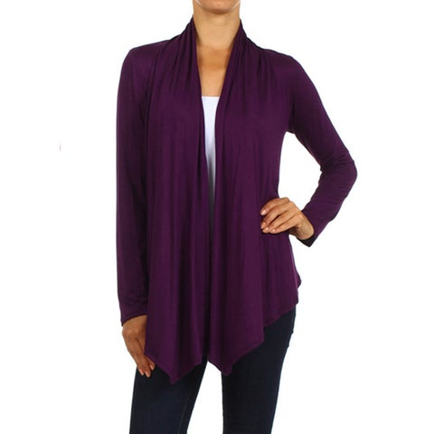 MOA Collection Women's Solid Color Open Front Cardigan