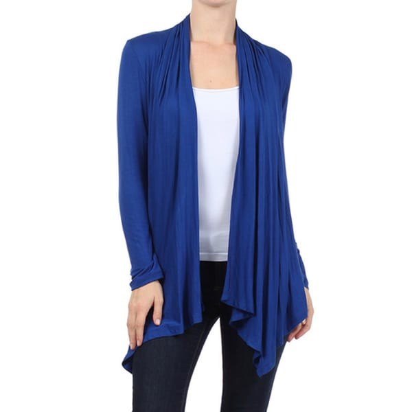 MOA Collection Women's Solid Color Open Front Cardigan - Free ...