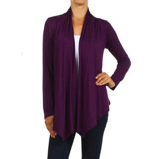 MOA Collection Women's Solid Color Open Front Cardigan|https://ak1.ostkcdn.com/images/products/10549315/P17628949.jpg?impolicy=medium