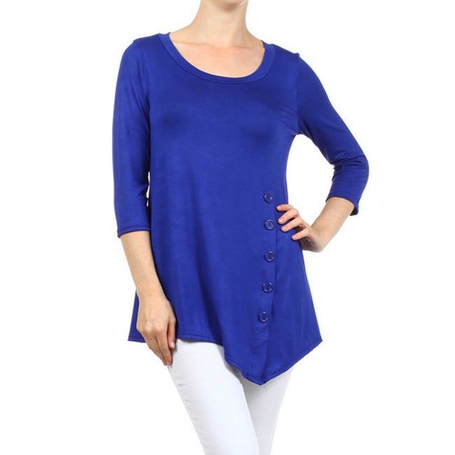 Womens Solid Shirt with Button Trim