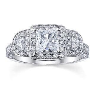 18k White Gold 1 3/4ct TDW Halo Princess Diamond Ring