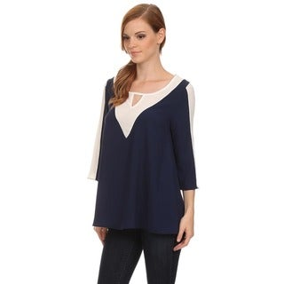 MOA Collection Women's Loose Fit Shirt with Keyhole Neckline