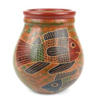 Handmade 6-inch Tall Vase - Fish Design (Nicaragua)