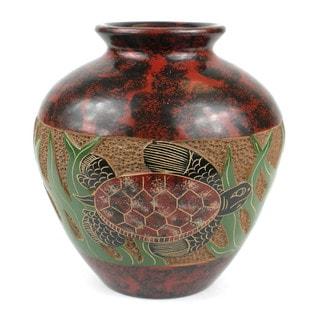 Handmade 5-inch Tall Vase - Turtle Design (Nicaragua)