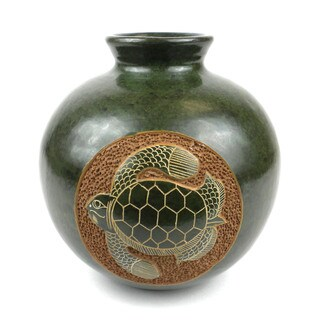 Handmade 6-inch Tall Vase - Turtle Design (Nicaragua)