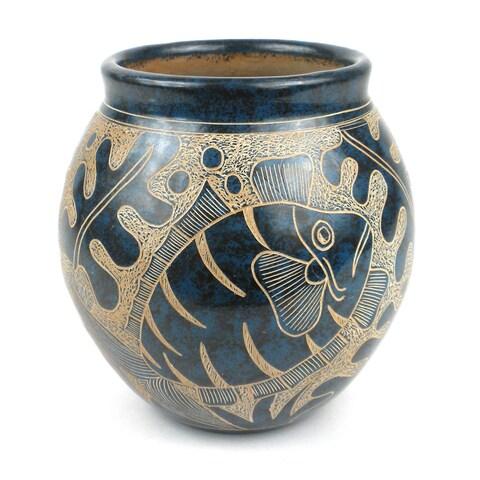 Handmade 5-inch Tall Vase Blue Fish Design (Nicaragua)