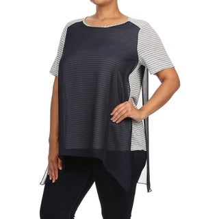 MOA Collection Women's Plus Size Striped Shirt with Layers