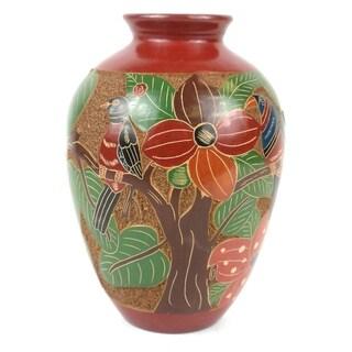Handmade 7-inch Tall Vase - Tree of Life Design (Nicaragua)