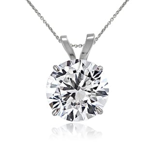 Icz Stonez 14k Gold 7mm 1.25ct TGW Round Cubic Zirconia Solitaire Necklace