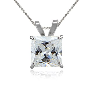 Icz Stonez 14k Gold 6mm 1.3ct TGW Square Cubic Zirconia Solitaire Necklace